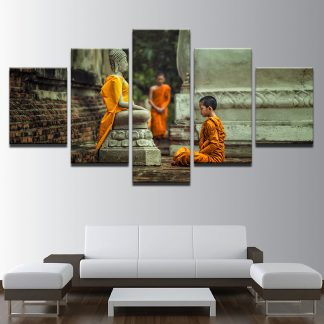 5 Panels Buddha Monk Multi Piece Framed Canvas Art Poster Print