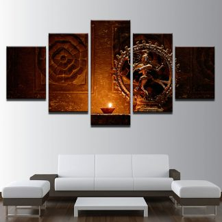 5 Panels Golden Buddha With Diya Multi Piece Framed Canvas Art Poster Print