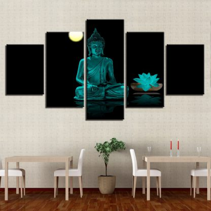 5 Panels Night Buddha Meditating Multi Piece Framed Canvas Art Poster Print