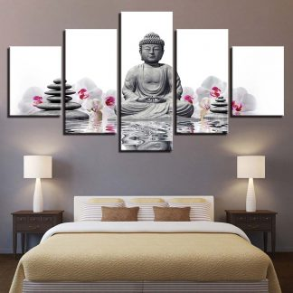 5 Panels Buddha with Flowers and Stones Multi Piece Framed Canvas Art Poster Print