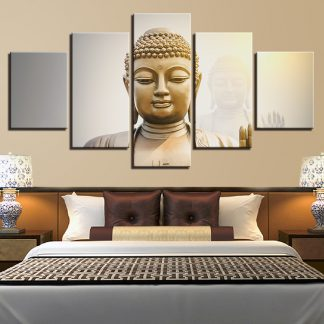 5 Panels Golden Buddha Spirit Multi Piece Framed Canvas Art Poster Print
