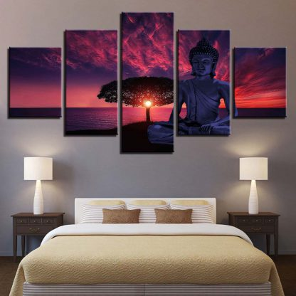 5 Panels Pink Sky Buddha Multi Piece Framed Canvas Art Poster Print