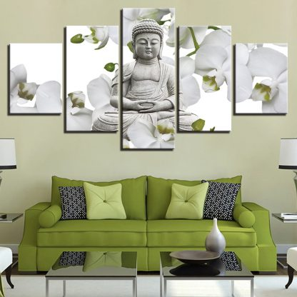 5 Panels Buddha Stone Statue White Flowers Multi Piece Framed Canvas Art Poster Print
