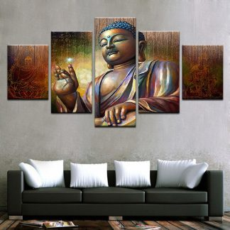 5 Panels Buddha Energy Multi Piece Framed Canvas Art Poster Print