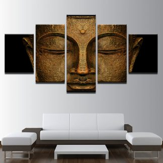 5 Panels Golden Buddha Multi Piece Framed Canvas Art Poster Print