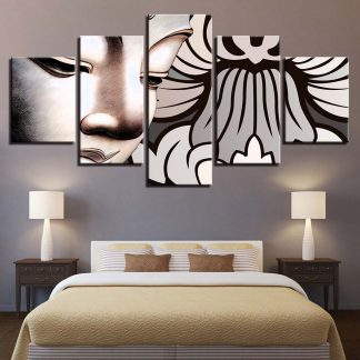 5 Panels White Buddha Design Multi Piece Framed Canvas Art Poster Print