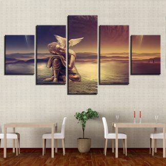5 Panels Winged Buddha Multi Piece Framed Canvas Art Poster Print