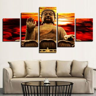 5 Panels Buddha Clouds Multi Piece Framed Canvas Art Poster Print