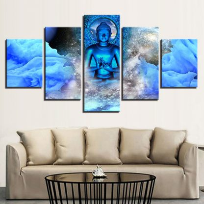 5 Panels Blue Buddha Multi Piece Framed Canvas Art Poster Print