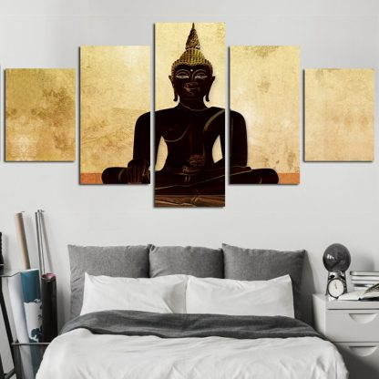 5 Panels Black Buddha Multi Piece Framed Canvas Art Poster Print