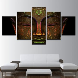 5 Panels Colorful Buddha Closeup Multi Piece Framed Canvas Art Poster Print