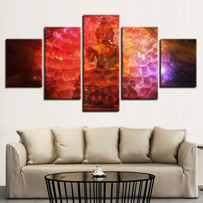 5 Panels Red Psychelic Buddha Multi Piece Framed Canvas Art Poster Print