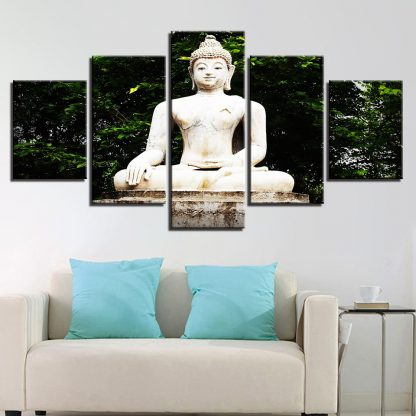 5 Panels White Buddha Forest Multi Piece Framed Canvas Art Poster Print