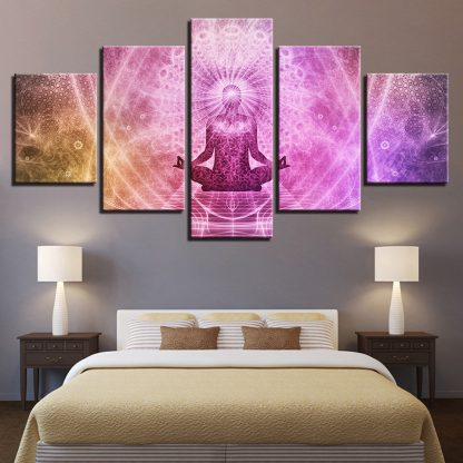 5 Panels Psychedelic Buddha Multi Piece Framed Canvas Art Poster Print