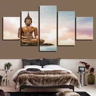 5 Panels Golden Buddha Statue Land Multi Piece Framed Canvas Art Poster Print