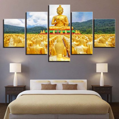 5 Panels Multiple Golden Buddhas Multi Piece Framed Canvas Art Poster Print