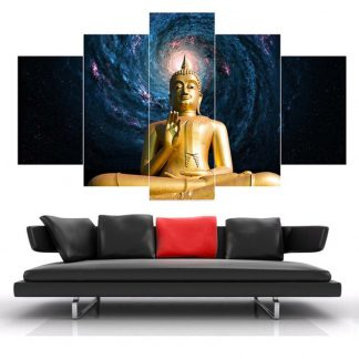 5 Panels Golden Buddha Galaxy Multi Piece Framed Canvas Art Poster Print