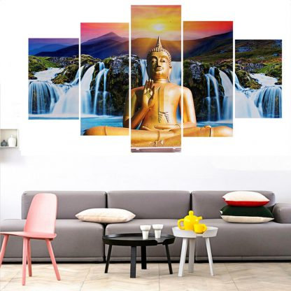 5 Panels Buddha Waterfall Multi Piece Framed Canvas Art Poster Print