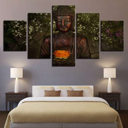 5 Panels Buddha Forest Multi Piece Framed Canvas Art Poster Print