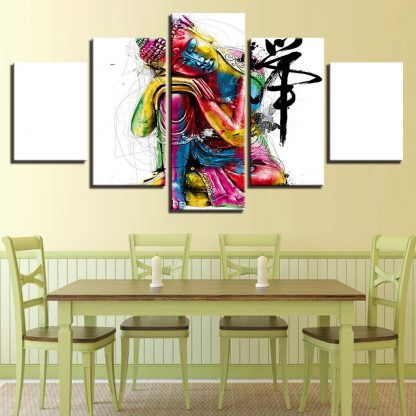 5 Panels Colorful Buddha Multi Piece Framed Canvas Art Poster Print
