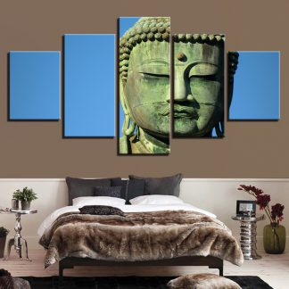 5 Panels Resting Buddha Multi Piece Framed Canvas Art Poster Print