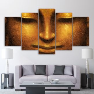 5 Panels Golden Buddha Face Multi Piece Framed Canvas Art Poster Print