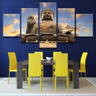 5 Panels Buddha Statue Clouds Multi Piece Framed Canvas Art Poster Print