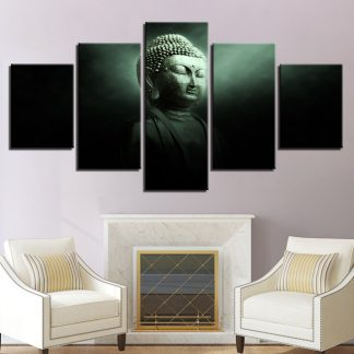 5 Panels Dark Meditating Buddha Multi Piece Framed Canvas Art Poster Print