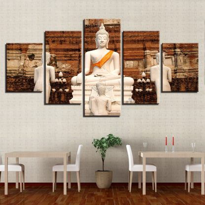 5 Panels White Buddha Monastery Multi Piece Framed Canvas Art Poster Print