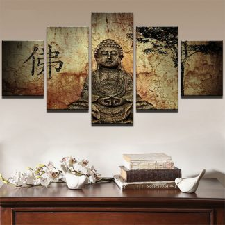 5 Panels Buddha Oriental Wall Multi Piece Framed Canvas Art Poster Print
