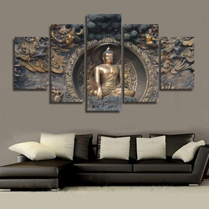 5 Panels Buddha Monastery Multi Piece Framed Canvas Art Poster Print