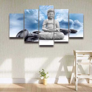 5 Panels Buddha Sky Statue Multi Piece Framed Canvas Art Poster Print
