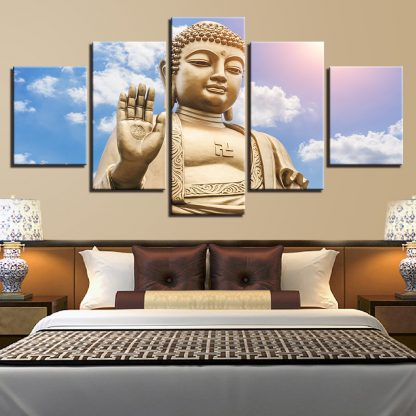 5 Panels Buddha Statue Multi Piece Framed Canvas Art Poster Print