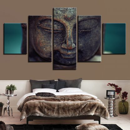 5 Panels Bronze Buddha Face Multi Piece Framed Canvas Art Poster Print