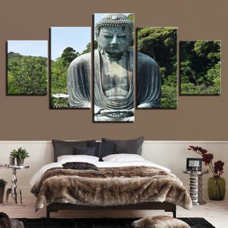 5 Panels Buddha Nature Forest Multi Piece Framed Canvas Art Poster Print