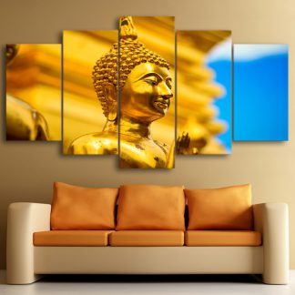 5 Panels Golden Buddha Statue Multi Piece Framed Canvas Art Poster Print