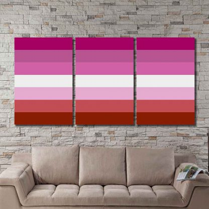 3 Panels Lesbian Pride Flag Multi Piece Framed Canvas Art Poster Print