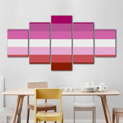 5 Panels Lipstick Lesbian Flag Without Lips Multi Piece Framed Canvas Art Poster Print