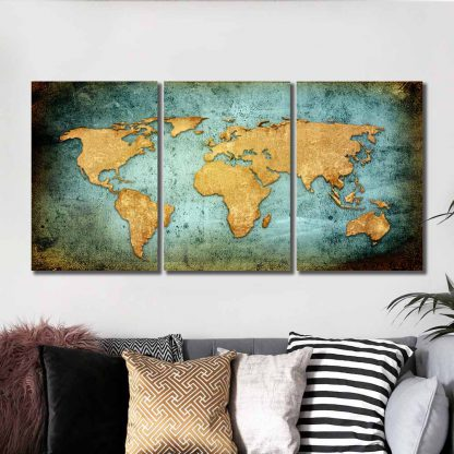 3 Panels Map Of Earth Multi Piece Framed Canvas Art Poster Print