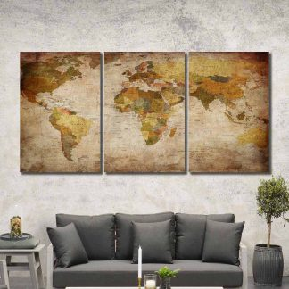 3 Panels Labelled World Map Multi Piece Framed Canvas Art Poster Print