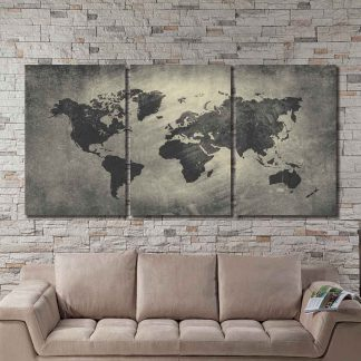 3 Panels Abstract World Map Multi Piece Framed Canvas Art Poster Print