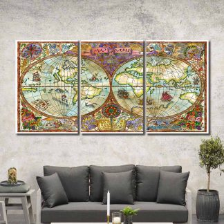 3 Panels Globe Of The World Multi Piece Framed Canvas Art Poster Print