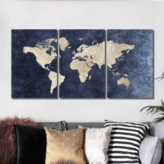 3 Panels Representation Of Earth Multi Piece Framed Canvas Art Poster Print
