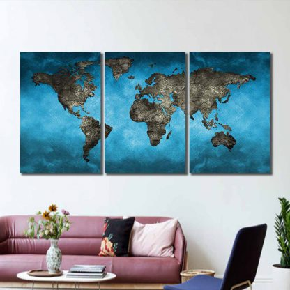 3 Panels World Map Over Ocean Multi Piece Framed Canvas Art Poster Print