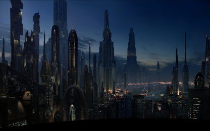 Night Life In Coruscant Poster Print Framed Canvas Art