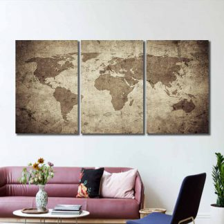 3 Panels Light Brown World Map Multi Piece Framed Canvas Art Poster Print