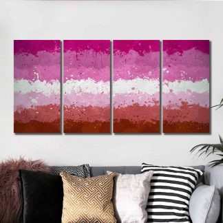 4 Panels Painted Lesbian Pride Flag Multi Piece Framed Canvas Art Poster Print