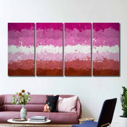 4 Panels Paint Smudged Lesbian Pride Flag Multi Piece Framed Canvas Art Poster Print