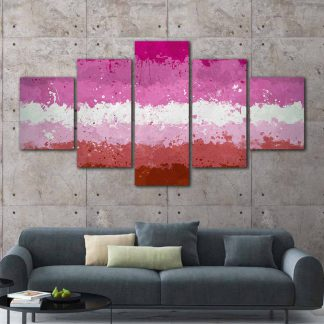 5 Panels Female Spectrum Pride Flag Multi Piece Framed Canvas Art Poster Print