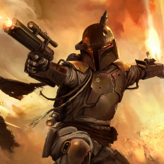 1 Panel Boba Fett In Action Multi Canvas Art